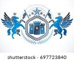 classy emblem  heraldic coat of ... | Shutterstock . vector #697723840