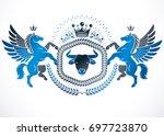 emblem made in vintage heraldic ... | Shutterstock . vector #697723870