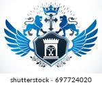 heraldic sign composed with... | Shutterstock . vector #697724020