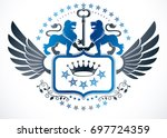 heraldic sign created using... | Shutterstock . vector #697724359