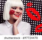 beautiful girl in a white wig... | Shutterstock . vector #697724470