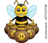 Funny Bee With Pot Of Honey