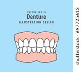 denture illustration vector on... | Shutterstock .eps vector #697725613