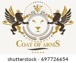 luxury heraldic emblem template ... | Shutterstock . vector #697726654