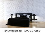 modern bright interiors. 3d... | Shutterstock . vector #697727359