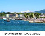 bains des paquis during... | Shutterstock . vector #697728439