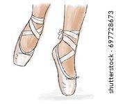 pink ballerina shoes. ballet... | Shutterstock .eps vector #697728673