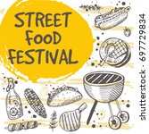 street food festival concept... | Shutterstock .eps vector #697729834