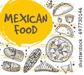 mexican food concept design.... | Shutterstock .eps vector #697730146