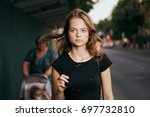 beautiful woman with flying... | Shutterstock . vector #697732810
