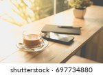 coffee time concept with coffee ... | Shutterstock . vector #697734880