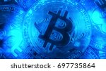 crypto currency gold bitcoin  ... | Shutterstock . vector #697735864
