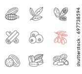 spices linear icons set. thin... | Shutterstock .eps vector #697738594
