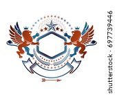 graphic emblem with brave lion... | Shutterstock . vector #697739446