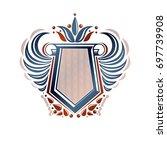 blank heraldic coat of arms... | Shutterstock . vector #697739908