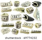 collection dollars isolated on... | Shutterstock . vector #69774232