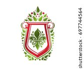 vintage heraldic emblem created ... | Shutterstock . vector #697744564