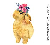 Stock photo watercolor illustration with little bunny and peony and leaves beautiful rabbit and flowers on a 697749193