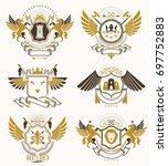 heraldic coat of arms created... | Shutterstock . vector #697752883