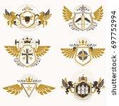 vintage heraldry design... | Shutterstock . vector #697752994