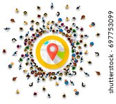 people surround the location... | Shutterstock .eps vector #697753099
