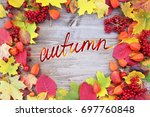 yellow and red leaf with the...   Shutterstock . vector #697760848