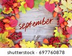 yellow and red leaf with the...   Shutterstock . vector #697760878