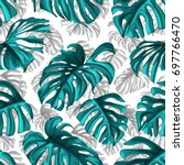 tropical leaves and coral... | Shutterstock .eps vector #697766470