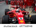 Small photo of Montreal, June 7 2017. F1 Ferrari pilot Sebastian Vettel (GER) making a pit stop during practice session at circuit Gilles Villeneuve during the Formula 1 Canadian GP weekend, Canada