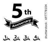 anniversary ribbon number 1 2 3 ...   Shutterstock .eps vector #697778104