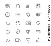 shopping line icons set  vector ... | Shutterstock .eps vector #697780003