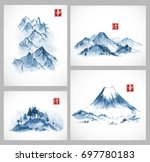 set of paintings of blue... | Shutterstock .eps vector #697780183