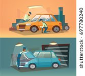 scenes of car repair... | Shutterstock . vector #697780240