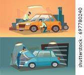 scenes of car repair... | Shutterstock . vector #697780240