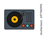 dj turntable icon  | Shutterstock .eps vector #697783990