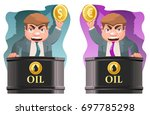 oil trader holds a dollar...   Shutterstock .eps vector #697785298