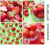 ripe fresh red strawberry on...   Shutterstock . vector #697788718