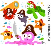 pirate sea animals with swords  ... | Shutterstock .eps vector #697792750