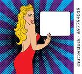 sexy  surprised blonde pop art... | Shutterstock .eps vector #697794019