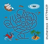 kids maze. labyrinth treasure... | Shutterstock .eps vector #697794439