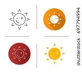 winking sun smile icon. flat... | Shutterstock .eps vector #697794994