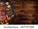 top view of fresh meat and... | Shutterstock . vector #697797280