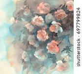 Stock photo light roses watercolor background 697799824