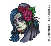 day of dead makeup girl with... | Shutterstock .eps vector #697800610