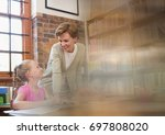 digital composite of librarian... | Shutterstock . vector #697808020