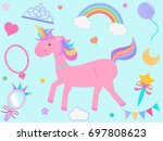 vector illustration of pink... | Shutterstock .eps vector #697808623