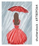 red girl with umbrella in the... | Shutterstock .eps vector #697809364