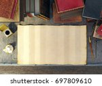 old paper and ancient books on... | Shutterstock . vector #697809610