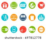 ecommerce round button icons set | Shutterstock .eps vector #697812778