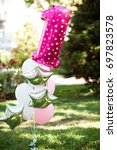 birthday balloons with number... | Shutterstock . vector #697823578